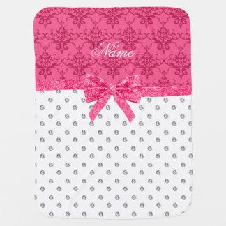 Custom name pink bow white diamond pink damask baby blanket