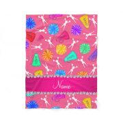 Custom name pink cheerleading pompoms fleece blanket
