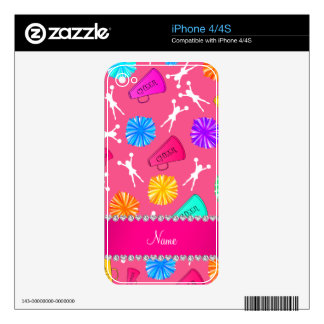 Custom name pink cheerleading pompoms iPhone 4 skins