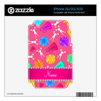 Custom name pink cheerleading pompoms skins for the iPhone 3G