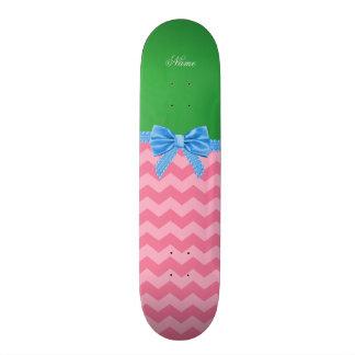 Custom name pink chevrons green blue bow skateboards