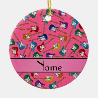 Custom name pink colorful electric guitars ceramic ornament