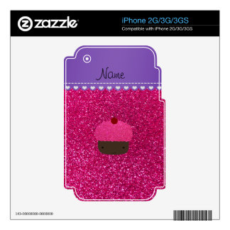Custom name pink cupcake neon hot pink glitter decal for the iPhone 3