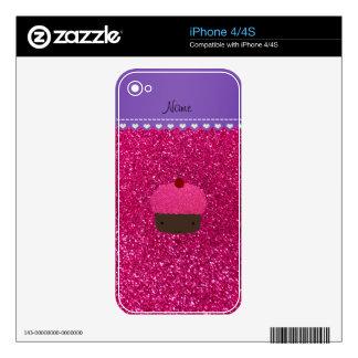 Custom name pink cupcake neon hot pink glitter iPhone 4S decals