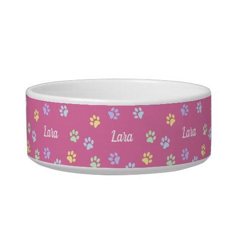 Custom Name Pink Cute Paws Bowl