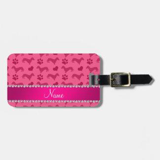 Custom name pink dachshunds hearts paws bag tag