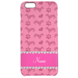 Custom name pink dachshunds hearts paws clear iPhone 6 plus case