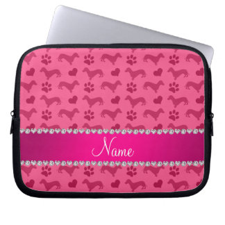 Custom name pink dachshunds hearts paws laptop sleeve