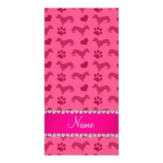 Custom name pink dachshunds hearts paws photo card