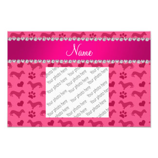 Custom name pink dachshunds hearts paws photo print