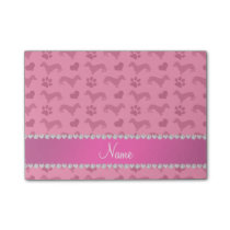 Custom name pink dachshunds hearts paws post-it notes