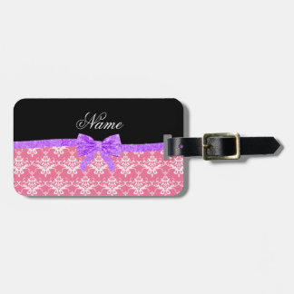 Custom name pink damask purple glitter bow tag for luggage