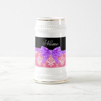 Custom name pink damask purple glitter bow 18 oz beer stein
