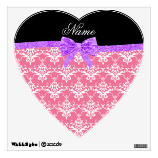 Custom name pink damask purple glitter bow wall decals