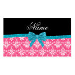 Custom name pink damask turquoise glitter bow Double-Sided standard business cards (Pack of 100)