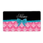 Custom name pink damask turquoise glitter bow label
