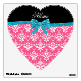 Custom name pink damask turquoise glitter bow wall graphics