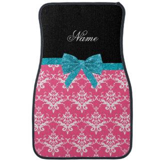 Custom name pink damask turquoise glitter bow floor mat