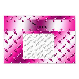 Custom name pink diamond plate steel photo print