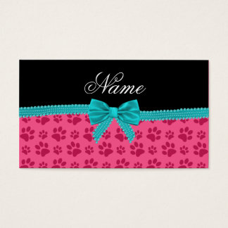 Custom name pink dog paws turquoise bow business card