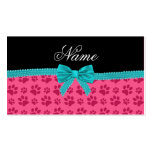 Custom name pink dog paws turquoise bow Double-Sided standard business cards (Pack of 100)