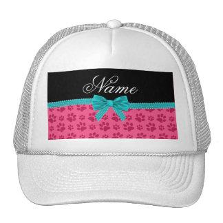 Custom name pink dog paws turquoise bow mesh hats