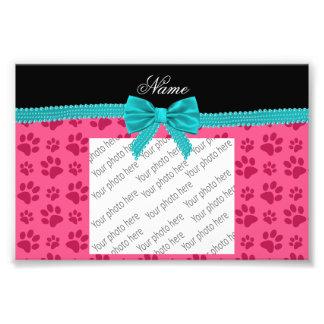Custom name pink dog paws turquoise bow photo