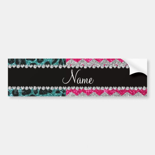 Custom name pink glitter chevrons turquoise leopar bumper stickers