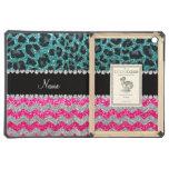Custom name pink glitter chevrons turquoise leopar iPad air cover