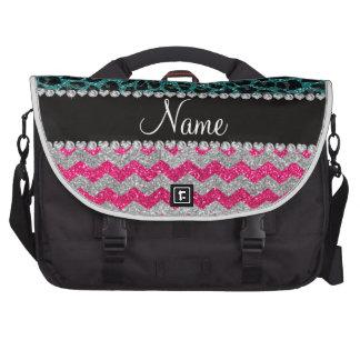Custom name pink glitter chevrons turquoise leopar laptop bag