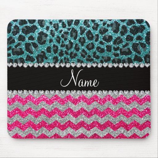 Custom name pink glitter chevrons turquoise leopar mouse pad