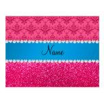 Custom name pink glitter damask blue stripe postcard