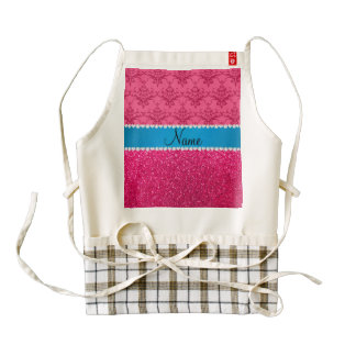 Custom name pink glitter damask blue stripe zazzle HEART apron