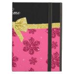 Custom name pink glitter flowers gold bow iPad covers