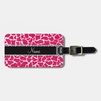 Custom name pink glitter giraffe bag tag