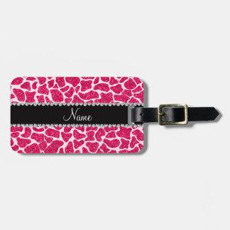 Custom name pink glitter giraffe bag tag