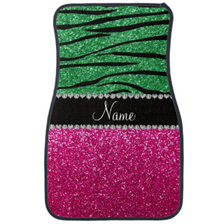 Custom name pink glitter green zebra stripes car mat