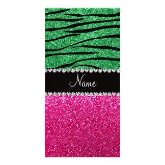 Custom name pink glitter green zebra stripes custom photo card
