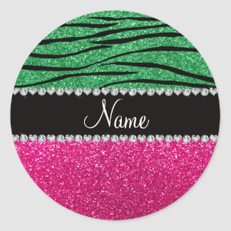 Custom name pink glitter green zebra stripes round sticker