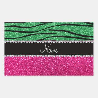 Custom name pink glitter green zebra stripes sticker