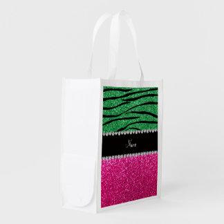 Custom name pink glitter green zebra stripes grocery bags