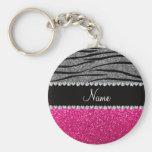 Custom name pink glitter light gray zebra stripes basic round button keychain