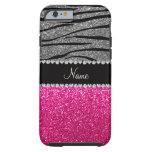 Custom name pink glitter light gray zebra stripes iPhone 6 case