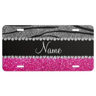 Custom name pink glitter light gray zebra stripes license plate