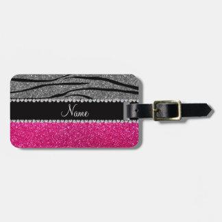 Custom name pink glitter light gray zebra stripes tag for bags