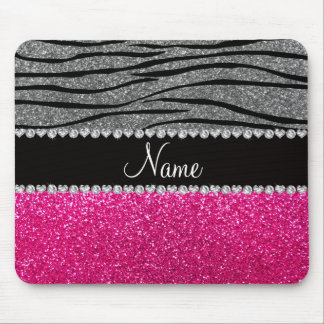 Custom name pink glitter light gray zebra stripes mouse pad