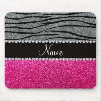 Custom name pink glitter light gray zebra stripes mouse pad