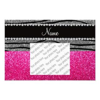 Custom name pink glitter light gray zebra stripes photograph