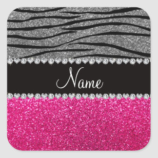Custom name pink glitter light gray zebra stripes square sticker