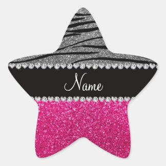 Custom name pink glitter light gray zebra stripes stickers